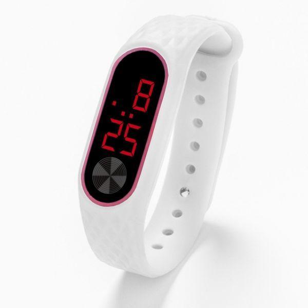 子供の腕時計 Led デジタルスポーツウォッチ少年少女メンズ ・ レディース ・ 電子シリコンブレスレット腕時計リロイニノ White Red_画像1