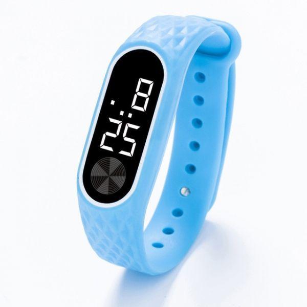 子供の腕時計 Led デジタルスポーツウォッチ少年少女メンズ ・ レディース ・ 電子シリコンブレスレット腕時計リロイニノ Sky Blue White_画像1