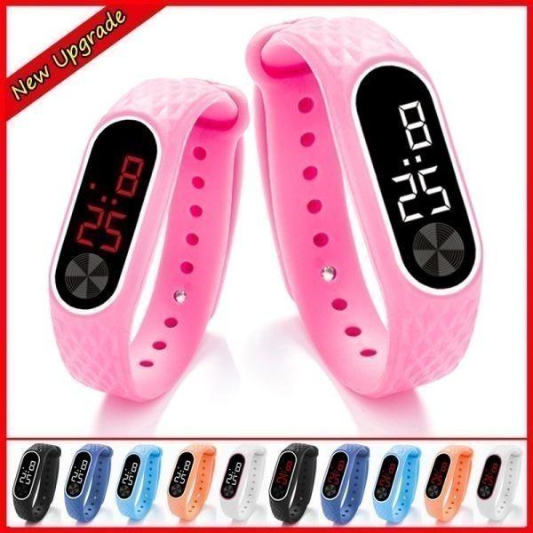 子供の腕時計 Led デジタルスポーツウォッチ少年少女メンズ ・ レディース ・ 電子シリコンブレスレット腕時計リロイニノ Sky Blue White_画像7