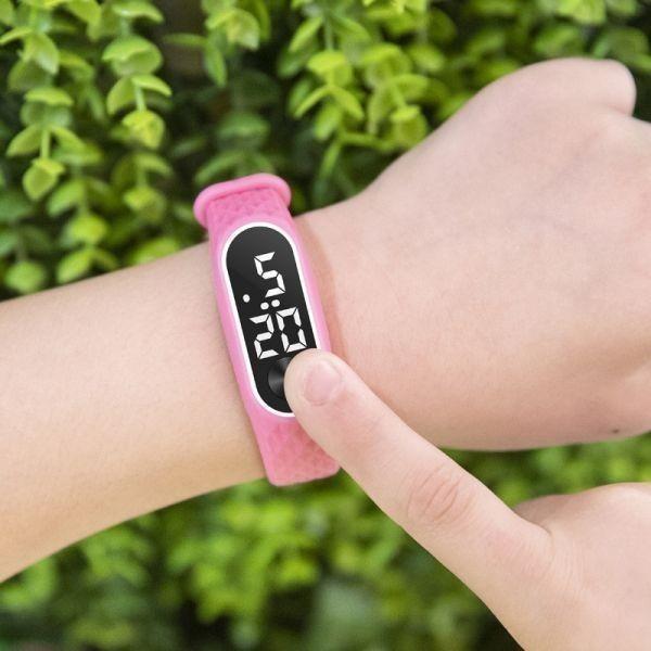 子供の腕時計 Led デジタルスポーツウォッチ少年少女メンズ ・ レディース ・ 電子シリコンブレスレット腕時計リロイニノ Pink White_画像2