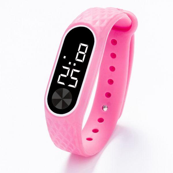 子供の腕時計 Led デジタルスポーツウォッチ少年少女メンズ ・ レディース ・ 電子シリコンブレスレット腕時計リロイニノ Pink White_画像1