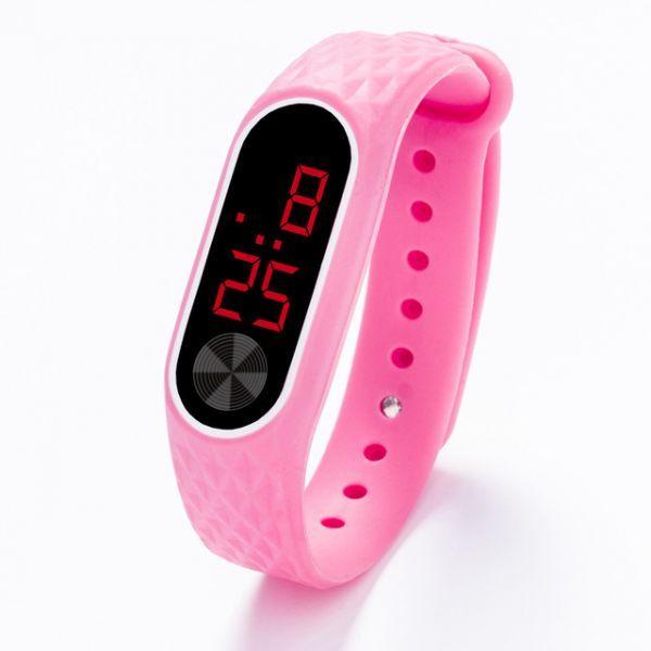 子供の腕時計 Led デジタルスポーツウォッチ少年少女メンズ ・ レディース ・ 電子シリコンブレスレット腕時計リロイニノ Pink Red_画像1