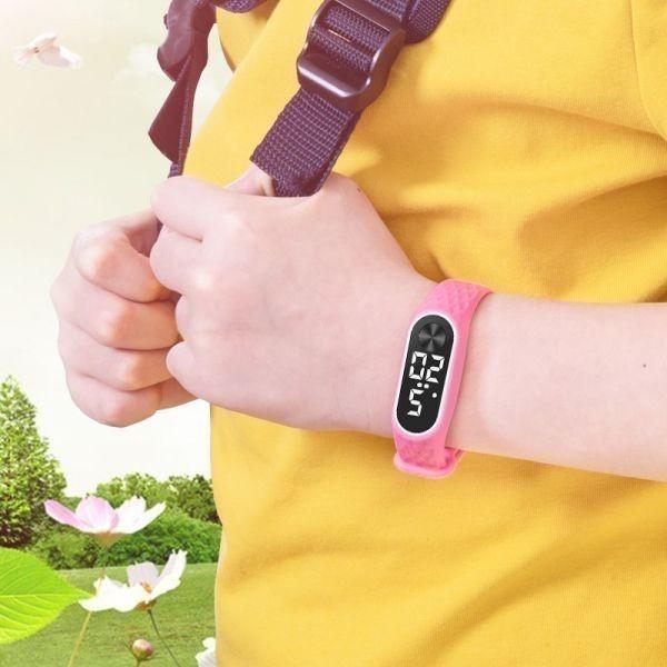 子供の腕時計 Led デジタルスポーツウォッチ少年少女メンズ ・ レディース ・ 電子シリコンブレスレット腕時計リロイニノ Pink Red_画像4