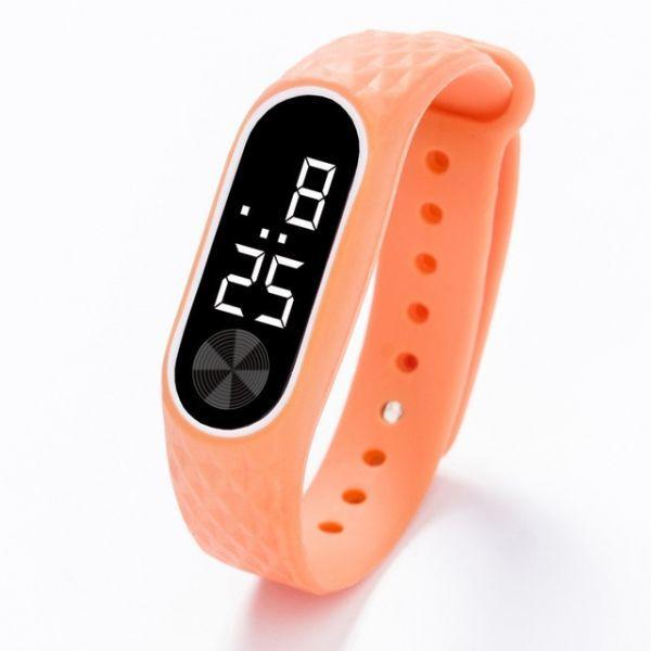 子供の腕時計 Led デジタルスポーツウォッチ少年少女メンズ ・ レディース ・ 電子シリコンブレスレット腕時計リロイニノ Orange White_画像1