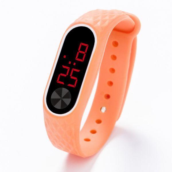 子供の腕時計 Led デジタルスポーツウォッチ少年少女メンズ ・ レディース ・ 電子シリコンブレスレット腕時計リロイニノ Orange Red_画像1