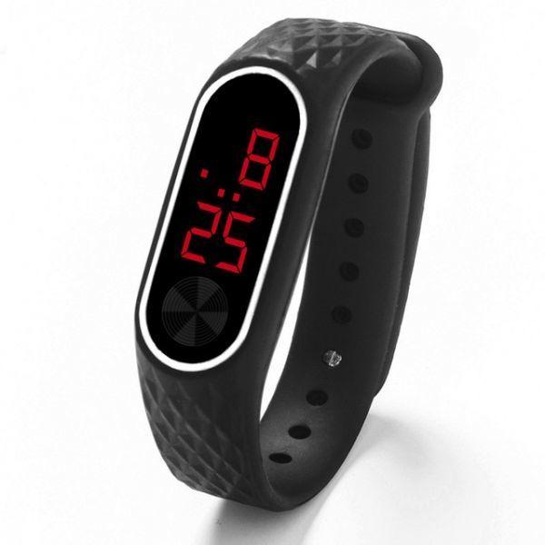 子供の腕時計 Led デジタルスポーツウォッチ少年少女メンズ ・ レディース ・ 電子シリコンブレスレット腕時計リロイニノ Black Red_画像1