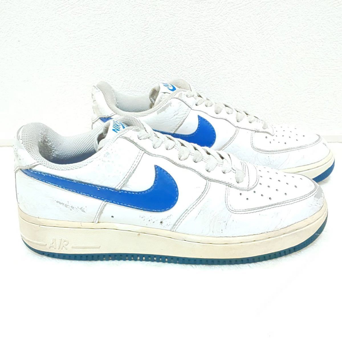 '07【NIKE】ナイキ AIR FORCE1 エアーフォースワン ローカット スニーカー シューズ 靴 ホワイト ブルー カジュアル ストリート 25.5cm/jx_画像2