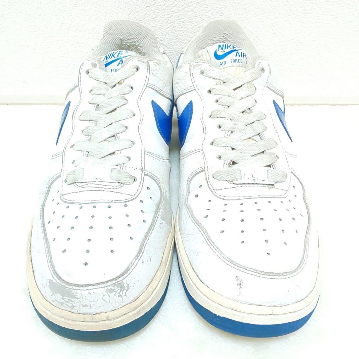'07【NIKE】ナイキ AIR FORCE1 エアーフォースワン ローカット スニーカー シューズ 靴 ホワイト ブルー カジュアル ストリート 25.5cm/jx_画像3