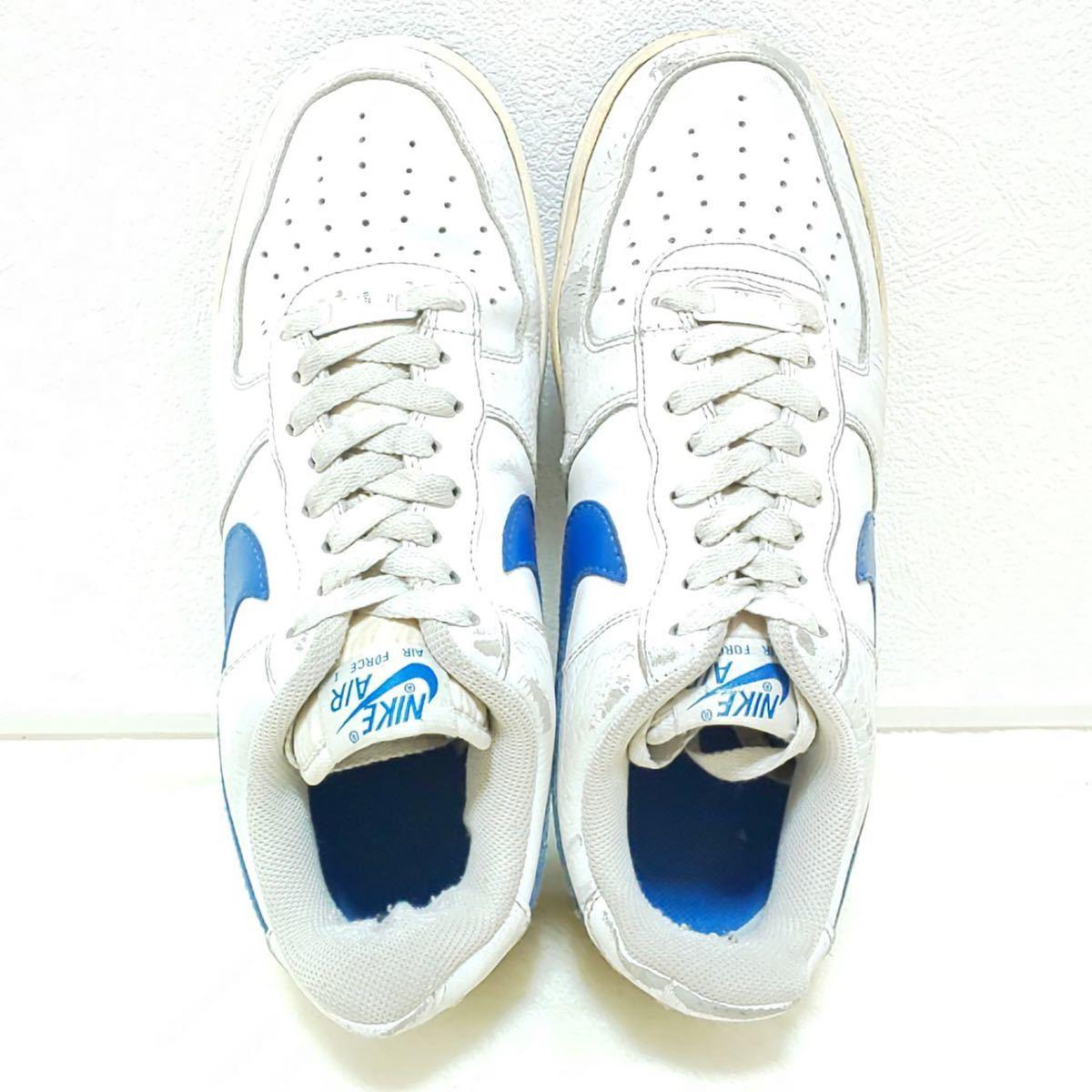 '07【NIKE】ナイキ AIR FORCE1 エアーフォースワン ローカット スニーカー シューズ 靴 ホワイト ブルー カジュアル ストリート 25.5cm/jx_画像6