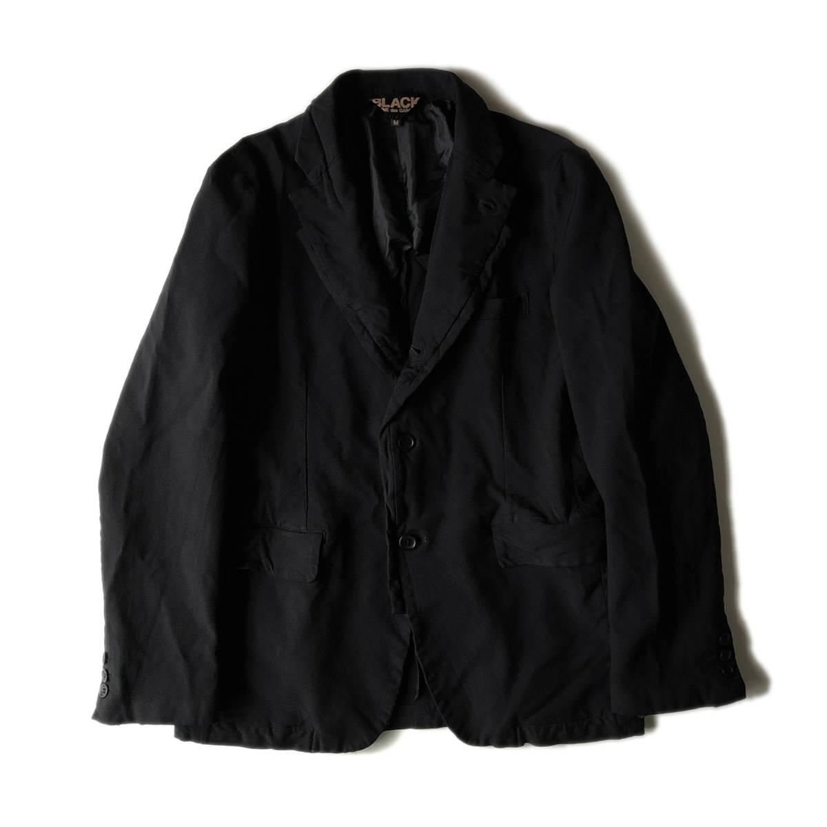 AD2009 BLACK COMME des GARCONS ブラックコムデギャルソン ポリ縮 ジャケット ブラック ポリエステル縮絨 黒 M ※セットアップPTも出品中