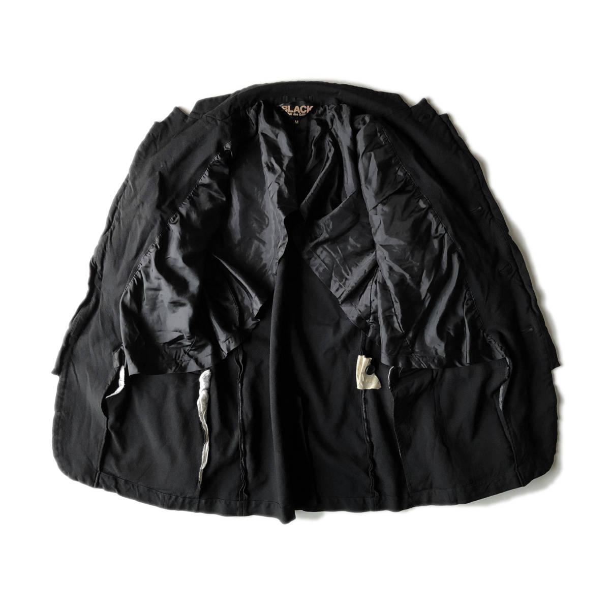 AD2009 BLACK COMME des GARCONS ブラックコムデギャルソン ポリ縮 ジャケット ブラック ポリエステル縮絨 黒 M ※セットアップPTも出品中_画像8