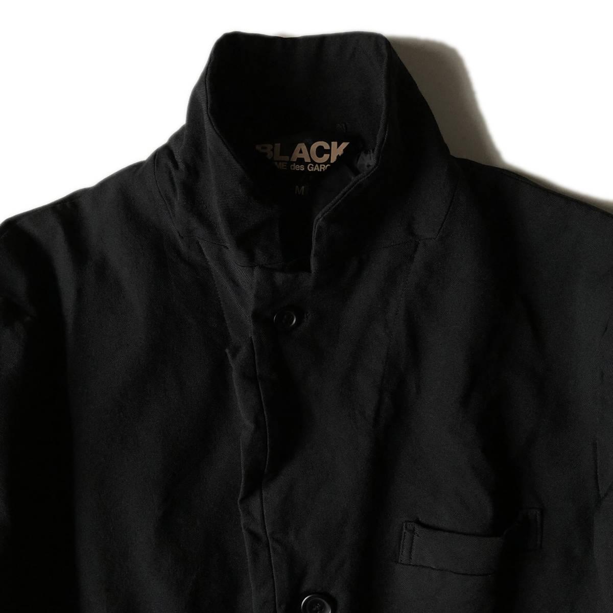 AD2009 BLACK COMME des GARCONS ブラックコムデギャルソン ポリ縮 ジャケット ブラック ポリエステル縮絨 黒 M ※セットアップPTも出品中_画像4