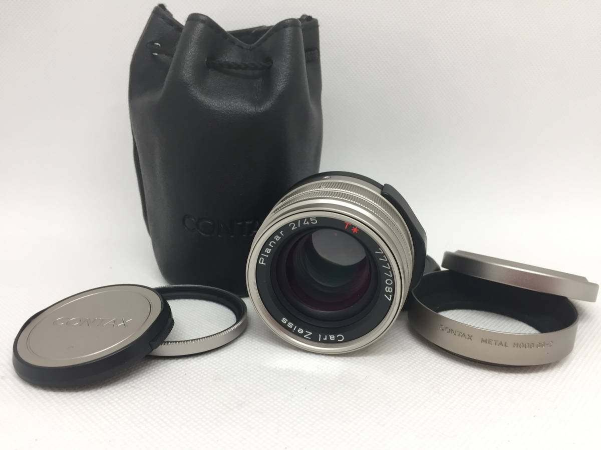 Contax コンタックス Carl Zeiss Planar T* 45mm F2 AF レンズ G1 G2用 フード、フィルター、ケース付属