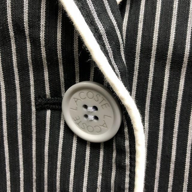 【(株)ファブリカ】 LACOSTE ラコステ サイズ38 レディース テーラードジャケット ストライプ 総裏地 長袖 ブラック×グレー×ホワイト_画像4