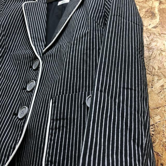 【(株)ファブリカ】 LACOSTE ラコステ サイズ38 レディース テーラードジャケット ストライプ 総裏地 長袖 ブラック×グレー×ホワイト_画像7