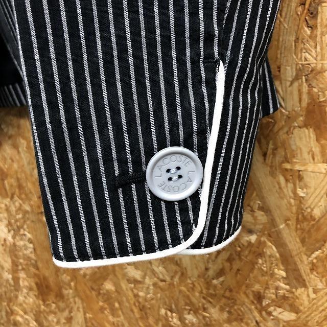 【(株)ファブリカ】 LACOSTE ラコステ サイズ38 レディース テーラードジャケット ストライプ 総裏地 長袖 ブラック×グレー×ホワイト_画像5