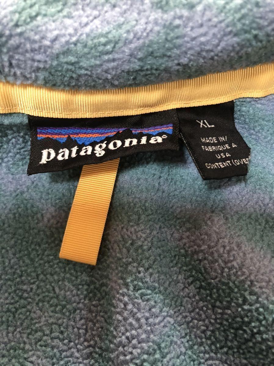 patagonia パタゴニア レア 90年代 雪なしタグ USA製 総柄 シンチラスナップ フリース ビンテージ オールド 人気 レトロ グリセード XL