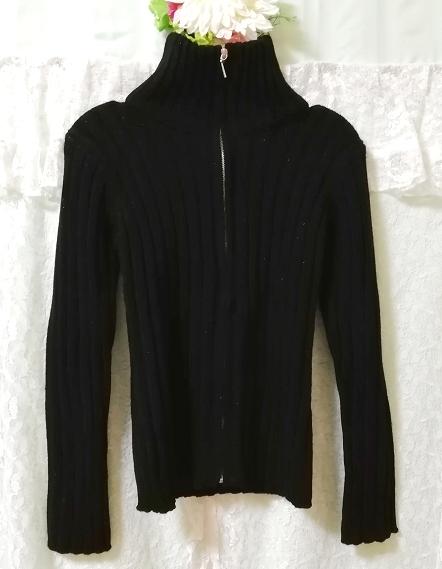 黒ニットタートルネックカーディガン Black knit turtleneck cardigan_画像3