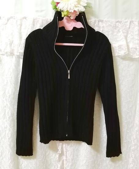 黒ニットタートルネックカーディガン Black knit turtleneck cardigan_画像1