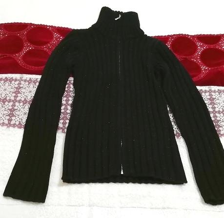 黒ニットタートルネックカーディガン Black knit turtleneck cardigan_画像6