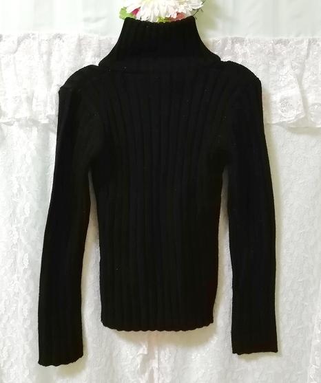 黒ニットタートルネックカーディガン Black knit turtleneck cardigan_画像2