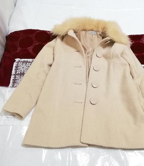 ブルーフォックスファーピンクベージュロングコート Blue fox fur pink beige long coat_画像1
