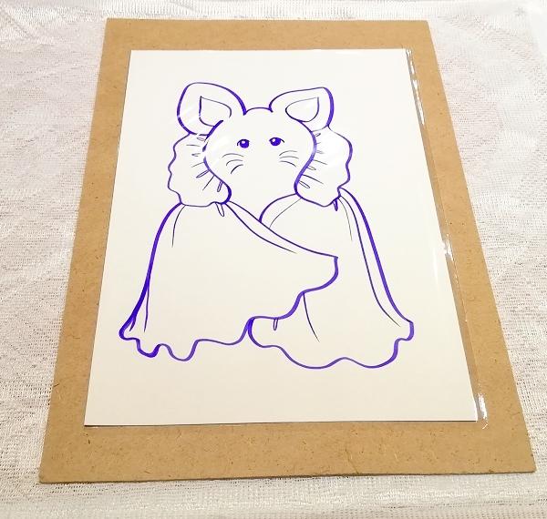 A4サイズ ■ 動物アニマル手描きオリジナル素材絵原画イラスト ■ 着物_画像1