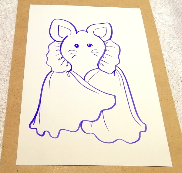A4サイズ ■ 動物アニマル手描きオリジナル素材絵原画イラスト ■ 着物_画像2