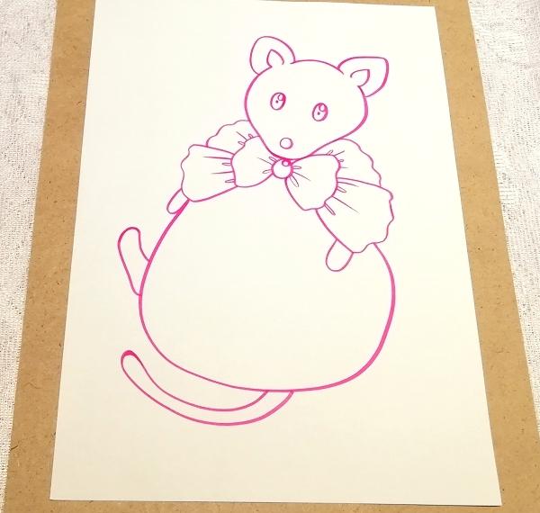 A4サイズ ■ 動物アニマル手描きオリジナル素材絵原画イラスト ■ りぼん袋_画像2