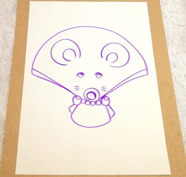 A4サイズ ■ 動物アニマル手描きオリジナル素材絵原画イラスト ■ 扇子01_画像2
