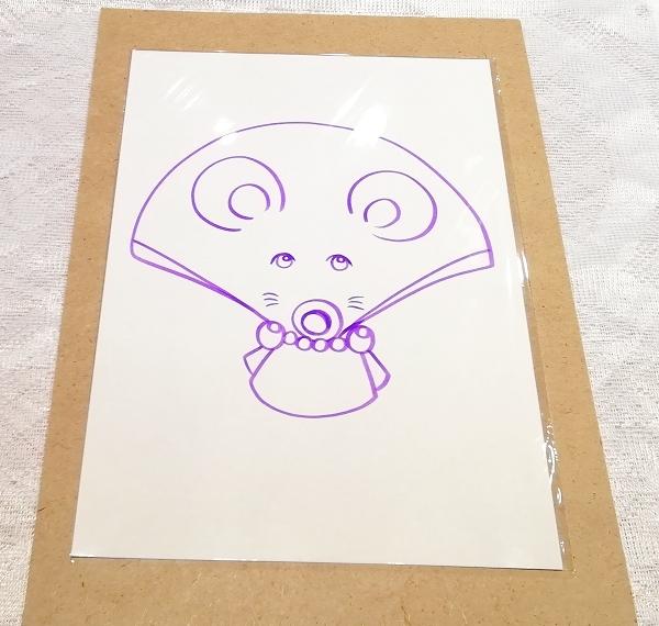 A4サイズ ■ 動物アニマル手描きオリジナル素材絵原画イラスト ■ 扇子01_画像1