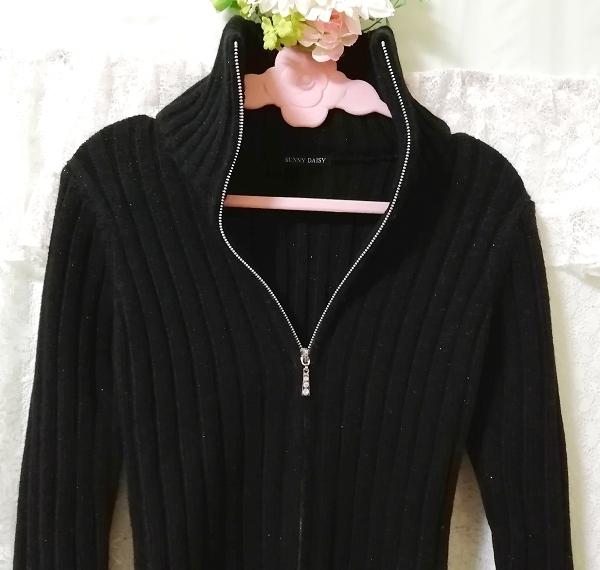 黒ニットタートルネックカーディガン Black knit turtleneck cardigan_画像4