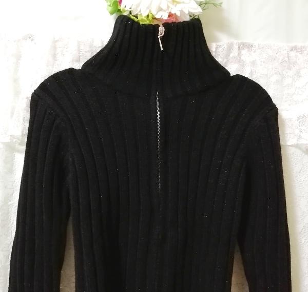 黒ニットタートルネックカーディガン Black knit turtleneck cardigan_画像5