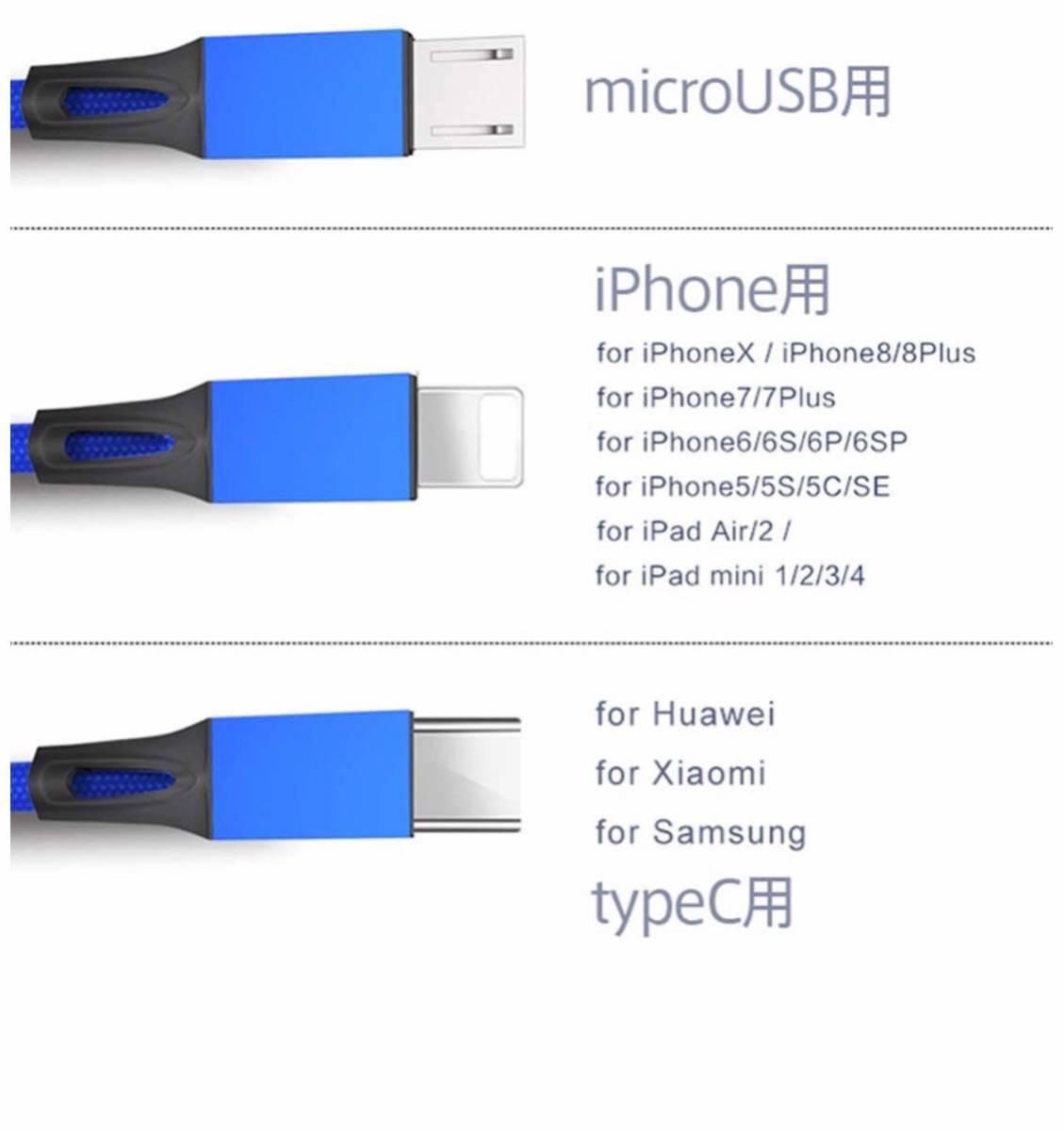 3in1 充電ケーブル 2本組 type-c 充電ケーブル USB Type C Micro USB ケーブル iPhone android type-c 同時給電可 1.2m (ブルー)_画像4
