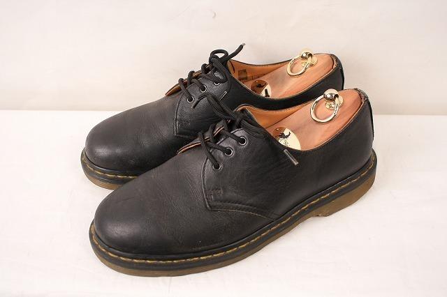 ドクターマーチン UK7/25.5cm-26.0cm/3ホール 黒 ブラック ブーツ レザー メンズ レディース dr.martens 中古 古着 dm3209_画像1