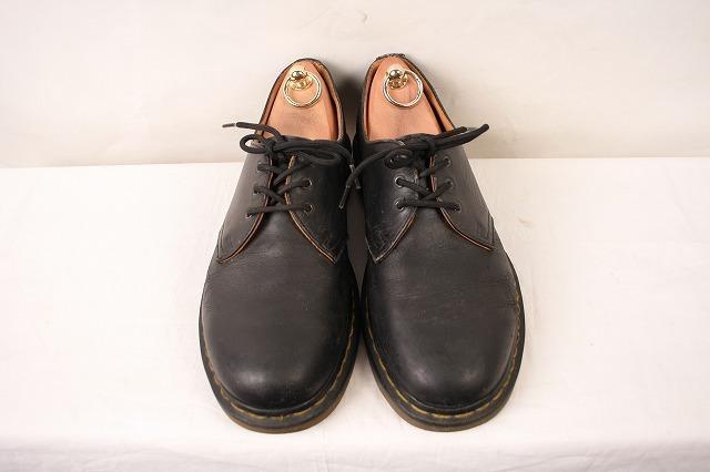 ドクターマーチン UK7/25.5cm-26.0cm/3ホール 黒 ブラック ブーツ レザー メンズ レディース dr.martens 中古 古着 dm3209_画像3