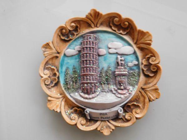 伊太利pisa イタリア italy 壁掛け皿 18x19cm ピサの斜塔_画像2