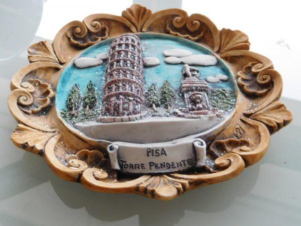 伊太利pisa イタリア italy 壁掛け皿 18x19cm ピサの斜塔_画像1