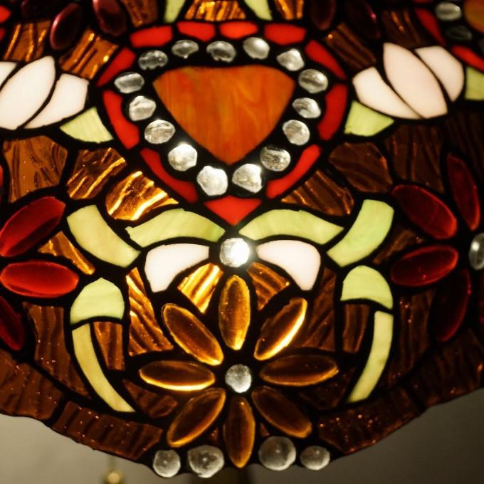 【特大】【高さ64cm】 ティファニー風 ハンドメイド ステンドグラス ランプシェード アンティーク 昭和 レトロ F0975_画像3
