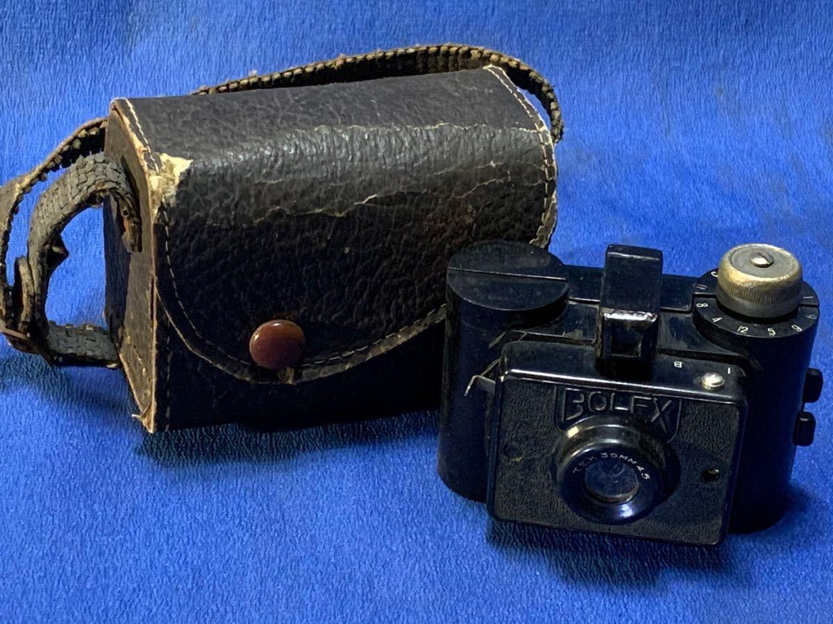 アンティーク 豆カメラ『 Bolex 』Reg.Trade mark NO.10.654 I.J.P.B.ミゼット判フィルムミニカメラ 共革製ケース付き_画像2