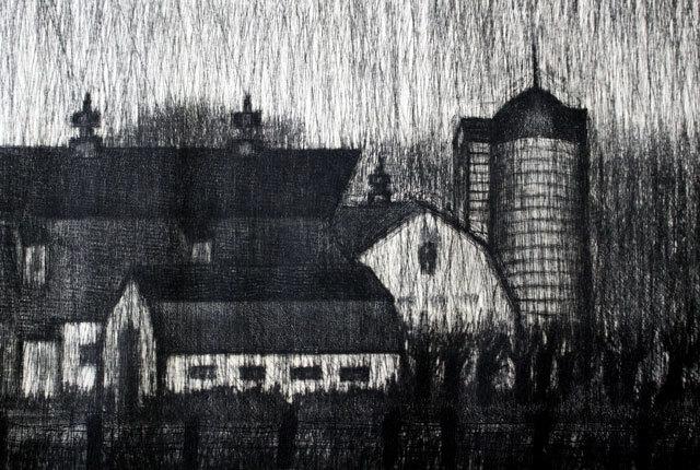 清水敦 銅版画 『黒沢牧場』 1966年作_画像4