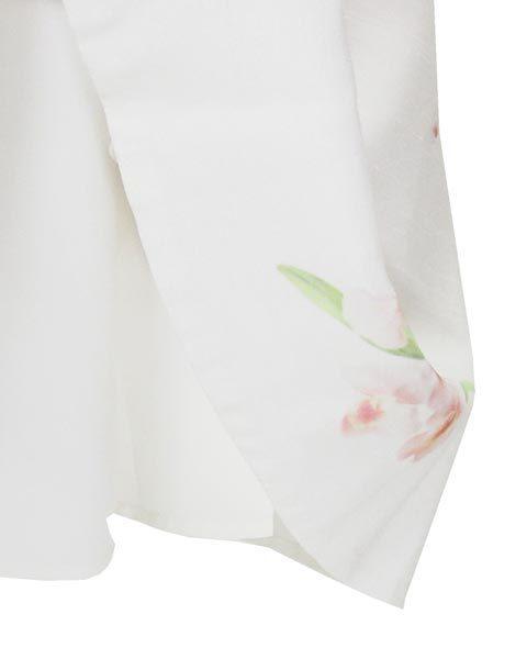 アベニールエトワール 白 薄ピンク 花 ノースリ ワンピース 38_画像6