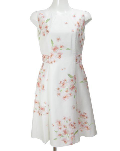 アベニールエトワール 白 薄ピンク 花 ノースリ ワンピース 38_画像1