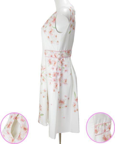 アベニールエトワール 白 薄ピンク 花 ノースリ ワンピース 38_画像2
