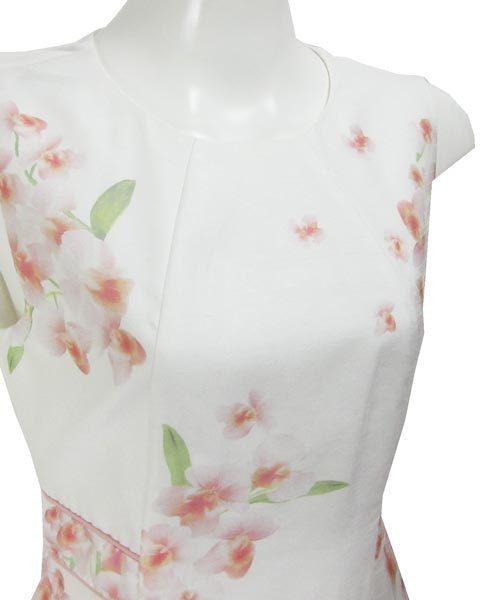 アベニールエトワール 白 薄ピンク 花 ノースリ ワンピース 38_画像4