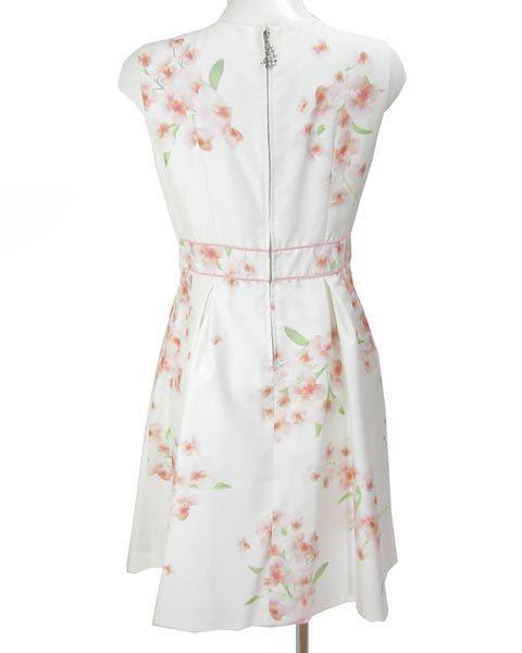アベニールエトワール 白 薄ピンク 花 ノースリ ワンピース 38_画像3