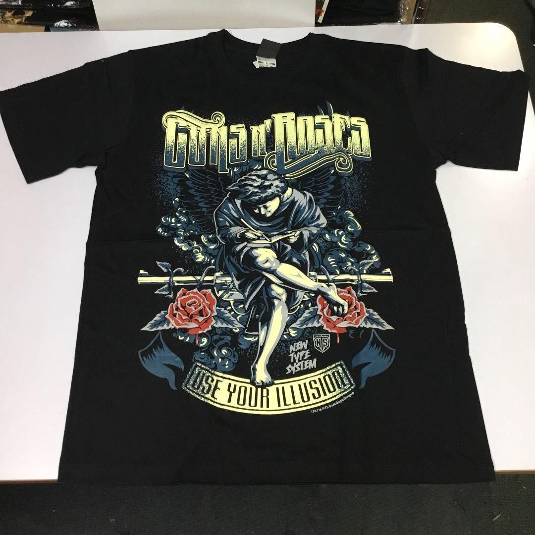 バンドデザインプリントTシャツ Lサイズ 半袖 黒 ガンズアンドローゼズ GUNS N' ROSES ③ SR5B3