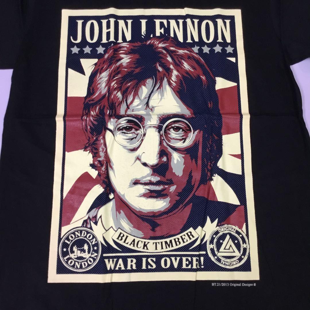 バンドデザインプリント半袖Tシャツ Lサイズ 黒 ジョンレノン JOHN LENNON ビートルズ THE BEATLES SR5B4
