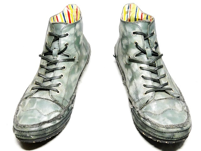 即決★whoop'EE'★27cm レザーハイカットスニーカー フーピー メンズ 緑 グリーン 本革 ダメージ加工 本皮 レースアップ 革靴 シューズ _画像4