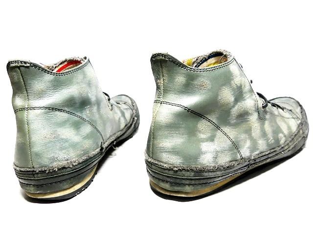 即決★whoop'EE'★27cm レザーハイカットスニーカー フーピー メンズ 緑 グリーン 本革 ダメージ加工 本皮 レースアップ 革靴 シューズ _画像2